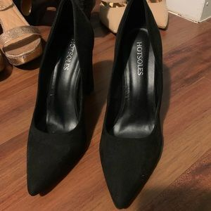 Black suede pointy block heels